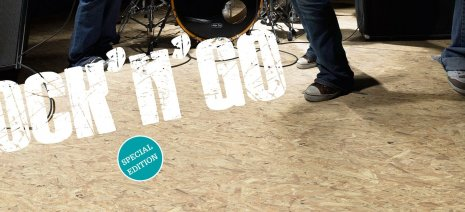 wineo Laminatboden OSB-Design mit Band und Schriftzug